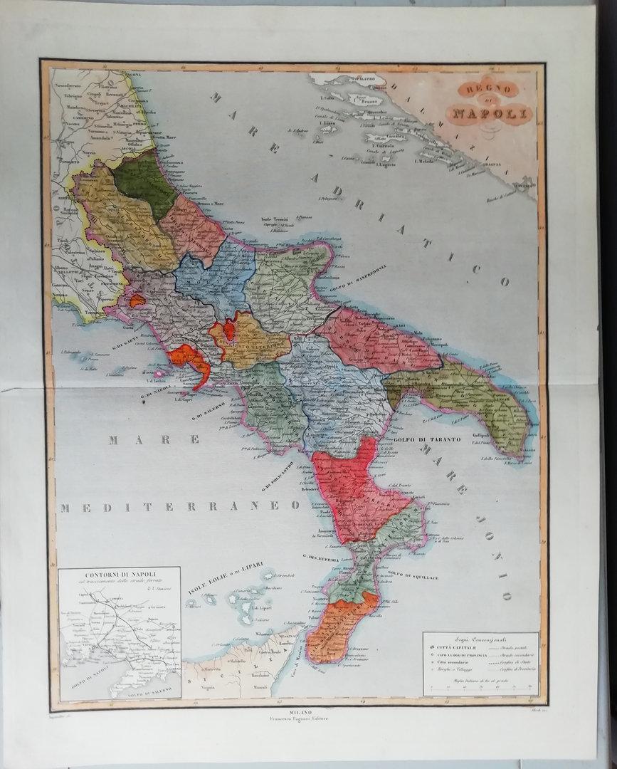 Cartina Italia Centrale E Meridionale.Italia Meridionale Regno Di Napoli 1865 Stampe Antiche