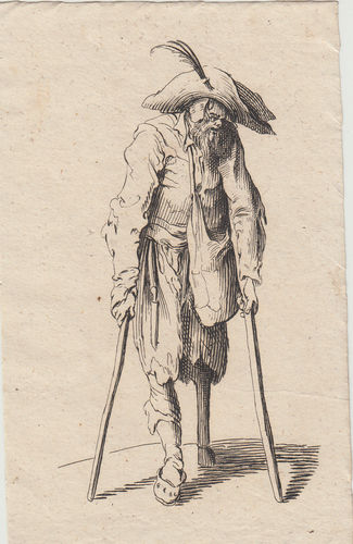 Jacques Callot, (Nancy 1594-1635)  Mendicante con due stampelle