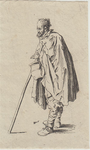 Jacques Callot, (Nancy 1594-1635)  Mendicante con brocca