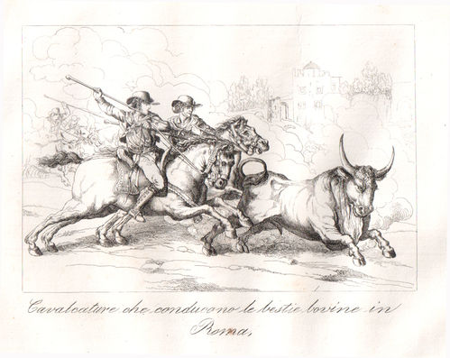 Pinelli, Cavalcature in Roma, 1840