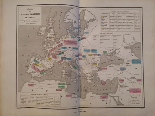 Carta dell'invasione dei Barbari in Europa, 1865
