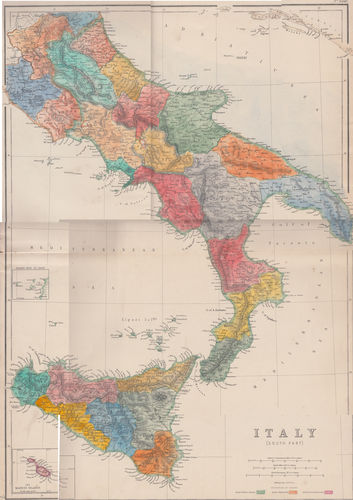 1860, Carta dell'Italia Centro-Meridionale colorata