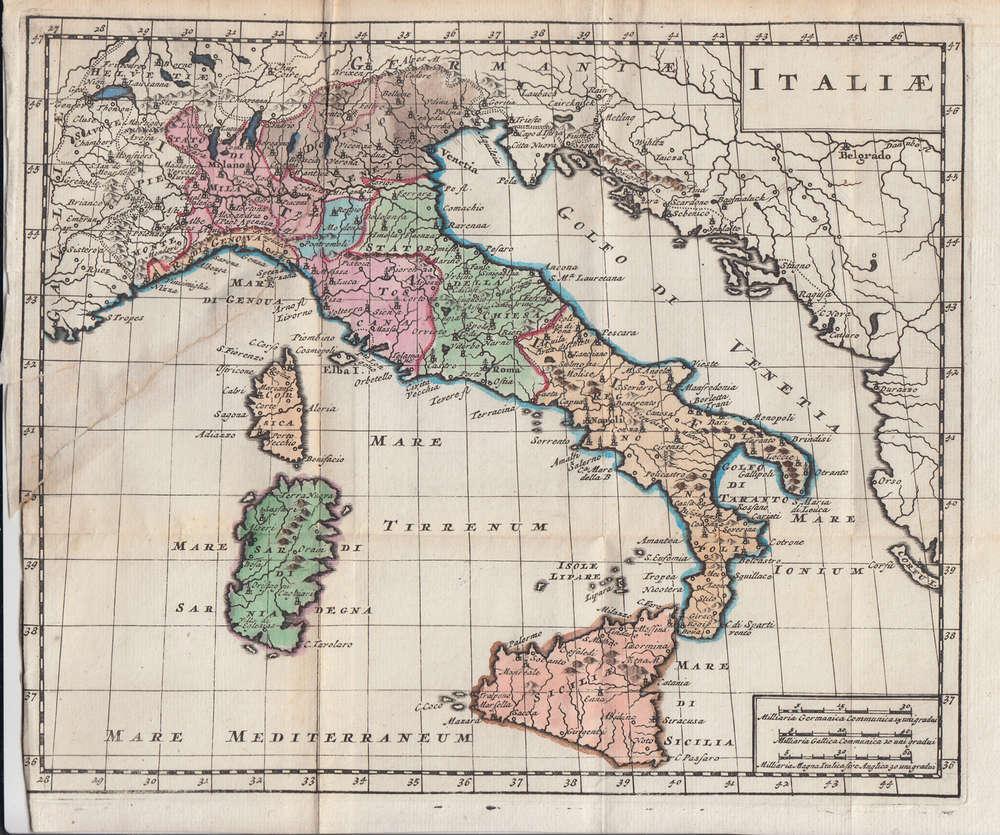 Mappa Dellitalia Antica.1703 Antica Mappa Dell Italia La Puntasecca Stampe Antiche