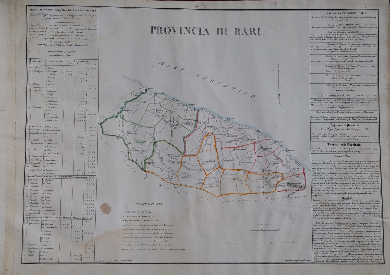 Provincia di Bari, B. Marzolla, 1832 - Puntasecca Stampe ...