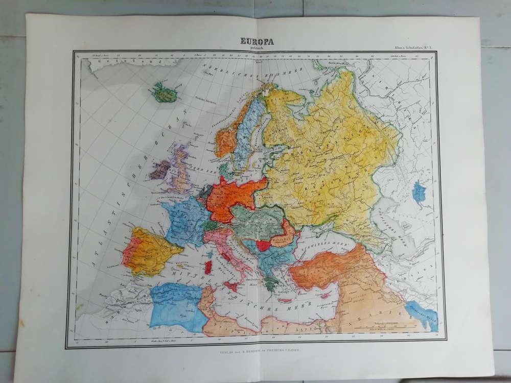 Cartina Geografica Europa Da Stampare.Europa Mappa Colorata 1869 La Puntasecca Stampe Antiche