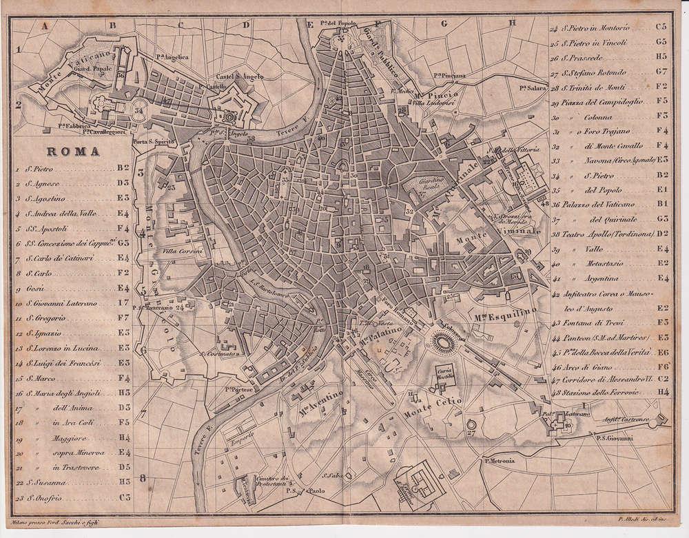 Cartina D Roma.Mappa Di Roma 1873 La Puntasecca Stampe Antiche